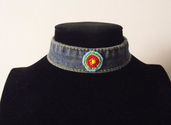 Blue Denim choker by MaryLooGifts on Etsy