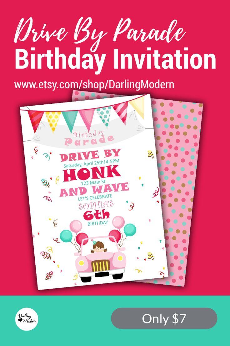EDITABLE Drive By Birthday Parade Invitation Virtual