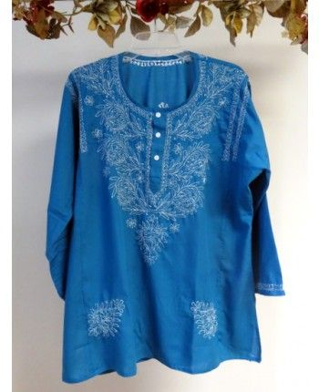 Product No: 1967GG  Our wide selection of #cotton summer #tunics for women features this teal blue #embroidered Cotton #Tunic #Top on #Sale at #YoursElegantly. This #tops is styled to make a flowy tunic fit, hip covering, long sleeves, all over delicate embellishment so it can be worn casual or even for evening wear in Spring Summer and all through Fall.  #CottonTunics #CottonTops