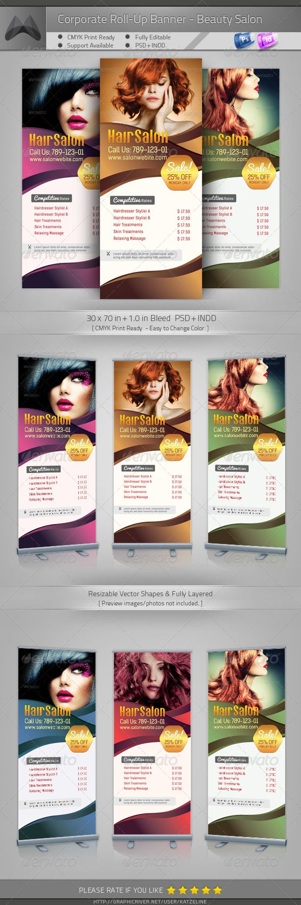 Corporate Outdoor Roll-up Banner - Beauty Salon