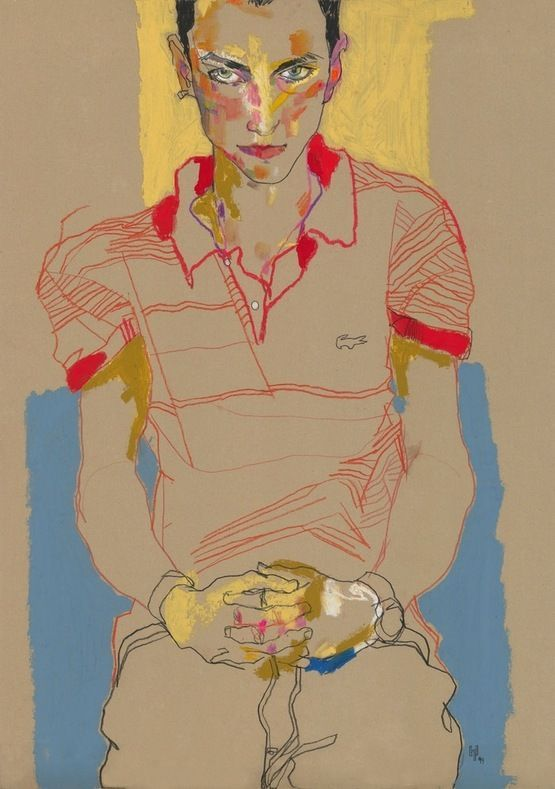 Howard Tangye - another Schiele-esque drawing - great hands and clever use of colour blocking in the background to de-centralise the composition