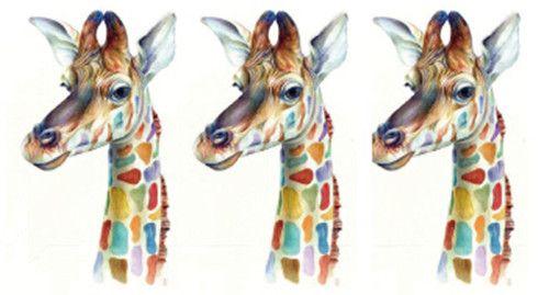 Waterproof Temporary Fake Tattoo Stickers Rainbow Watercolor Giraffe Deer Animals Design Body Art Make Up Tools #Affiliate