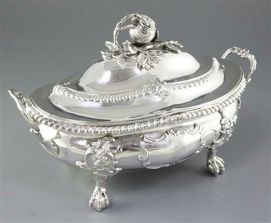 An impressive early Victorian Irish silver two handled oval soup tureen and cover, by Patrick Loughlin, hallmarked Dublin 1838.