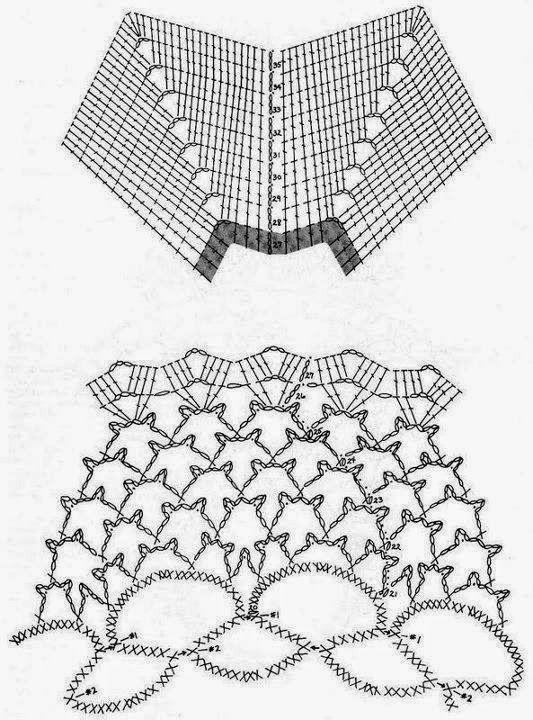 Toalha em crochê com babado plissado - gráfico1
