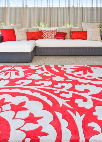Suzani Scarlet Rug RRP $1,199  New Zealand wool blend  Hand tufted, plush pile with carved design