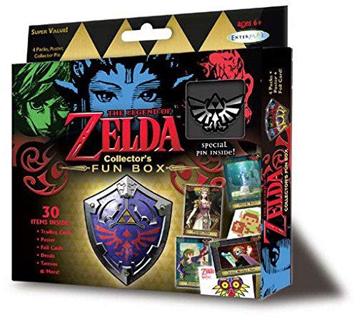 """2016 Nintendo The Legend Of Zelda Collector's Trading Cards Value Box - 4 packs of 6 cards each (Assorted Pin):   Each pack will contain 6 trading cards and either 1 decal/sticker or FunTat sheet. The Legend of Zelda trading cards are here! This brand is incredibly popular right now with the best-sellig games, books, and more! There are two major game releases this year, including the new HD version of The Twilight Princess in March and an all-new game """"coming soon."""" This stunning set ..."""