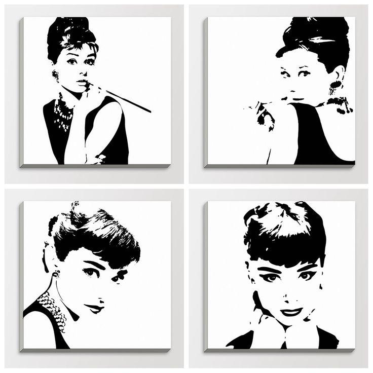 Знаменитости аннотация одри хепберн черный белый поп кинозвезда портрет старинные плакаты стены искусства деревянный каркас холст картины
