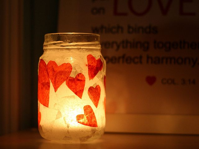 Heart jar candle holder. Tissue paper and Mod Podge. http://theprettybee.com/2013/02/diy-romantic-red-heart-votive-holder.html