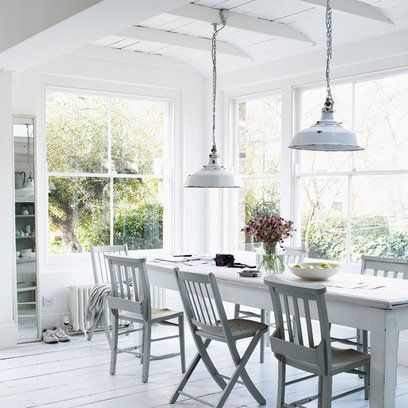 Love those shabby #lamp shades - A great idea for #secondhand lighting...Just remember to get them checked by a electrician. And love the mismatched #chairs.