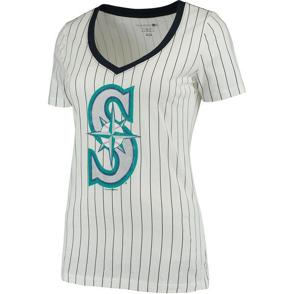 Ocean by New Era Seattle Mariners Women\u0027s White Baby Jersey Pinstripe  Ringer T-Shirt