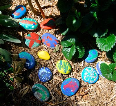 Paint rocks for games of hide and seek in the garden.