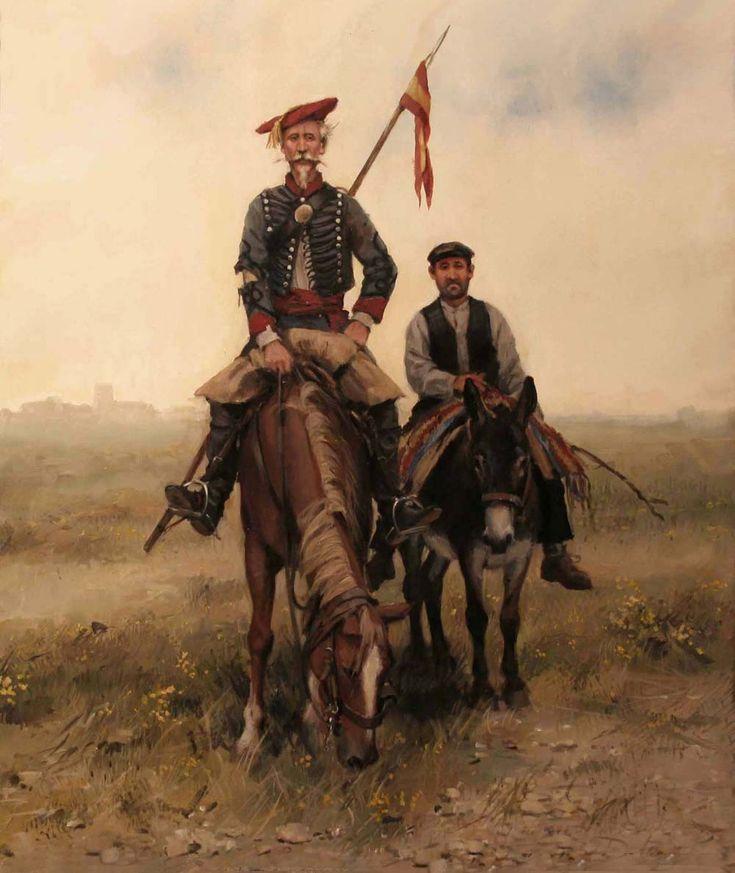 Crónicas24 - Todas las batallas de Augusto Ferrer-Dalmau  Quijotada carlista. Don Quijote lucha por Dios, por la patria y el Rey como un carlista más, seguido por su fiel Sancho.