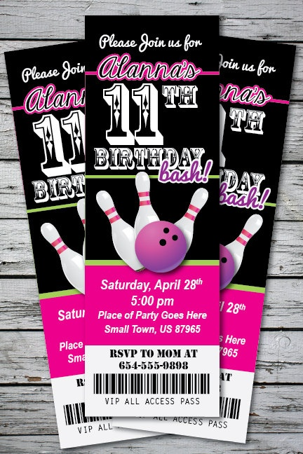 BOWLING Birthday Party Invitation TICKET Stub Any Age or Color Girl - You Print - 24 hour turnaround.