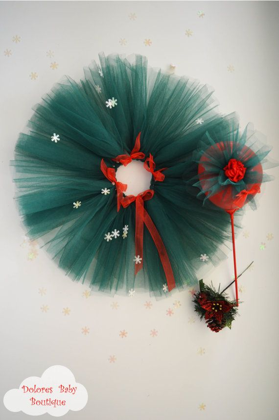 Baby Green Tutu Baby Red Headband Christmas by DoloresBabyBoutique