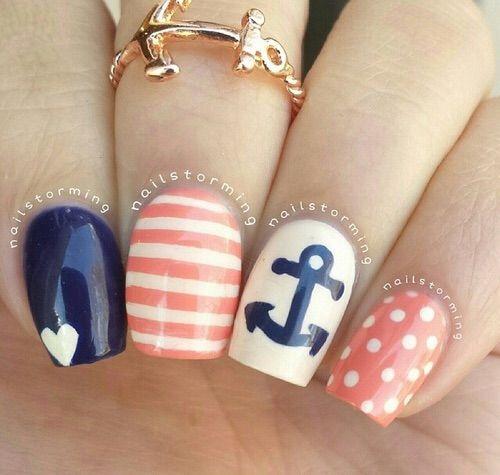 Image via We Heart It https://weheartit.com/entry/126906372/via/17257496 #beauty #blue #coral #cute #nails #navy #nailart