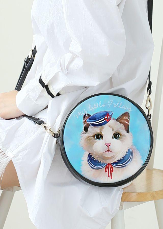 so cute!linmeimode original design creative sweet cat round bag http://www.dhgate.com/product/linmeimode-original-design-creative-sweet/234994000.html