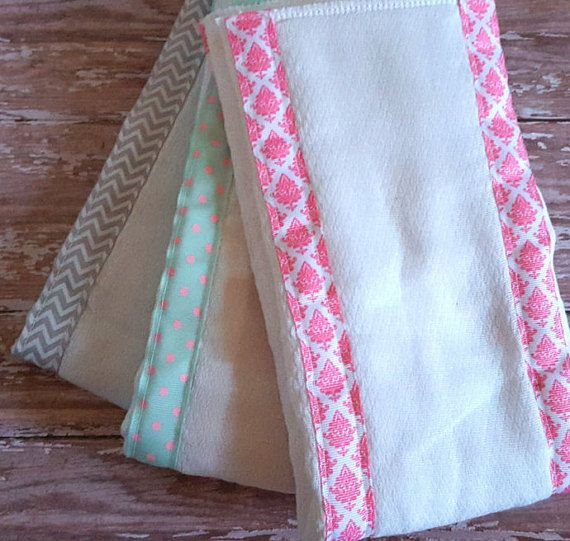 Set of 3 Burp Cloths// Baby Shower Gift// Baby Girl// Pink Burp Cloths// Baby Burp Rags// Baby Gift// Diaper Cloth Burp Rags// Grey Chevron