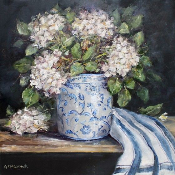Original Painting on Panel - White Hydrangeas - Postage is included Australia Wide