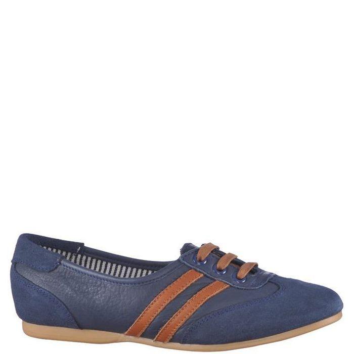 Pantofi casual fara toc, pentru femei, culoare albastra. Model realizat din piele naturala, captusiti cu material textil in doua culori. Inchiderea se face cu siret textil. Foarte usori si comozi, recomandati pentru tinute casual.