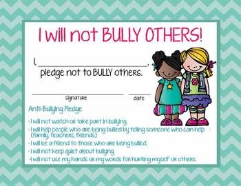 BULLY PREVENTION - POWERPOINT, POSTERS AND PLEDGE CERTIFICATE - TeachersPayTeachers.com
