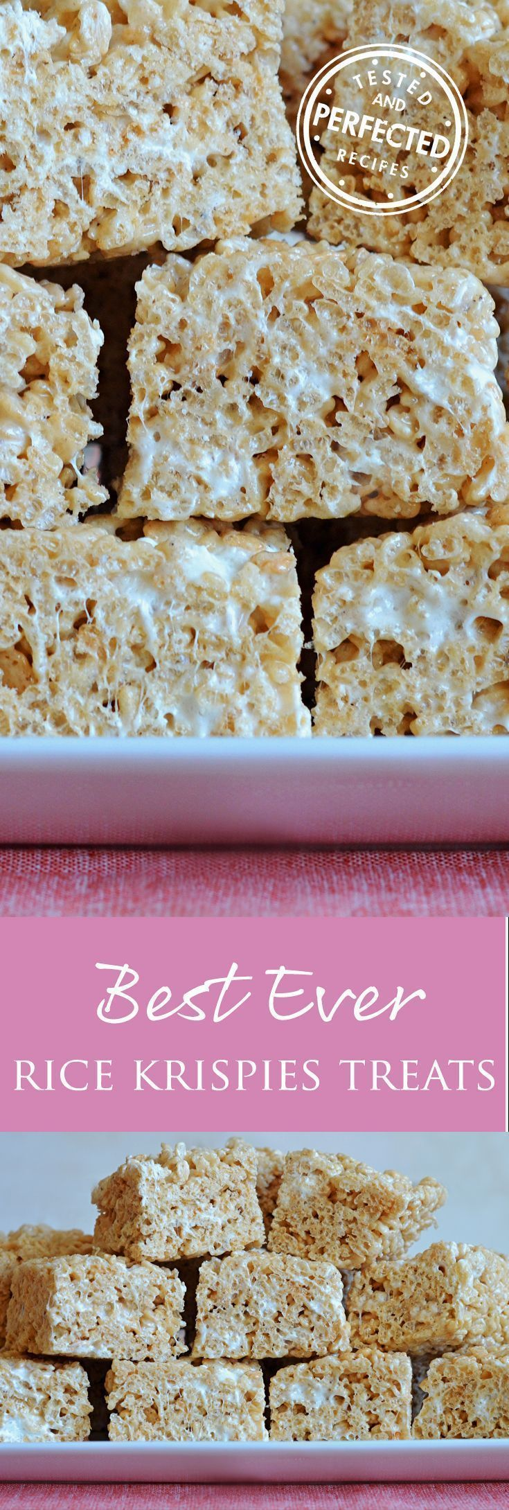 Made with brown butter, vanilla, salt, and the perfect amount of marshmallows, these are the BEST Ever Rice Krispie Treats. Thoroughly kid approved Krispies Treats #krispiestreats #sweetrecipes #testedandperfected