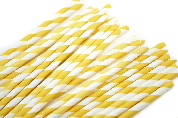 Paper Straws (25) Yellow Stripe with FREE Flags. $3.99, via Etsy.