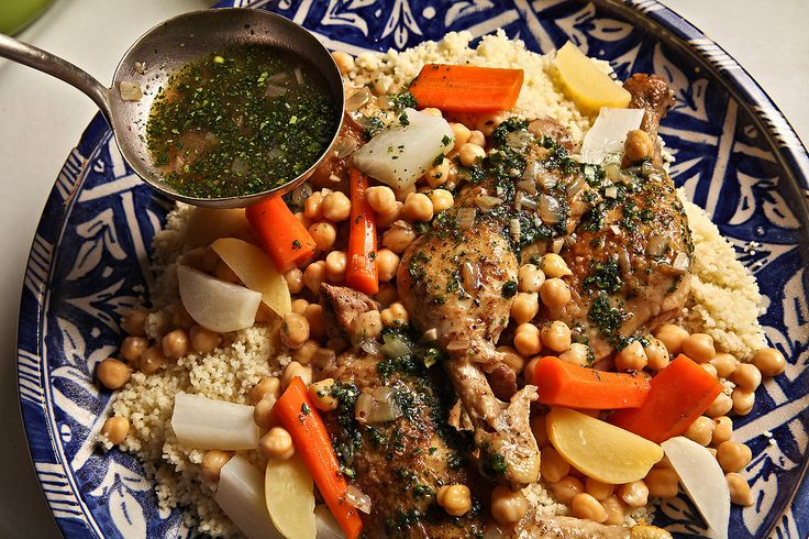 A recipe for chicken, couscous and vegetables.