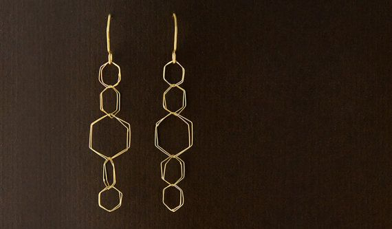 Orecchini collegamento esagonale realizzato a mano in argento Sterling o 18k collezione oro - aria orecchini - esagoni