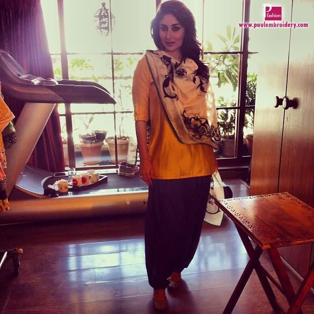 Kareena Kapoor In yellow and Black Patiala Suit By Payal Singhal | Paul Embroidery