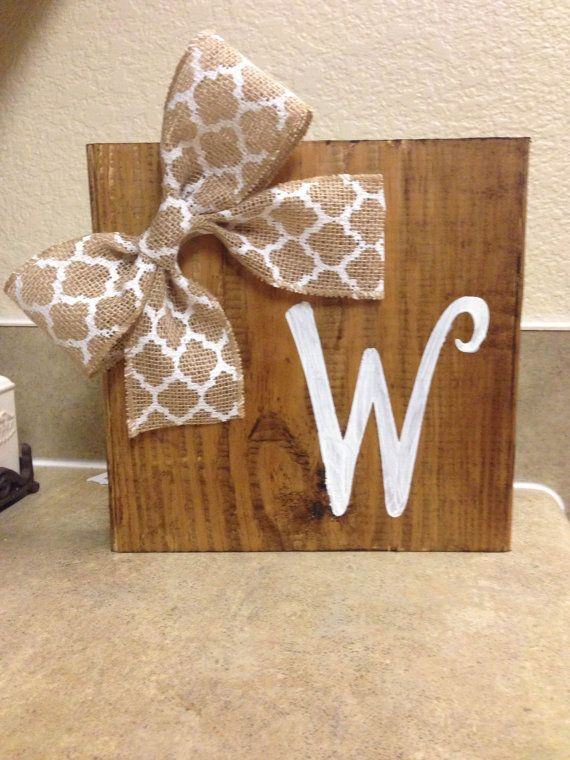Painted Initial Wood Block with Burlap Bow by PaintedBarnWood, $9.00