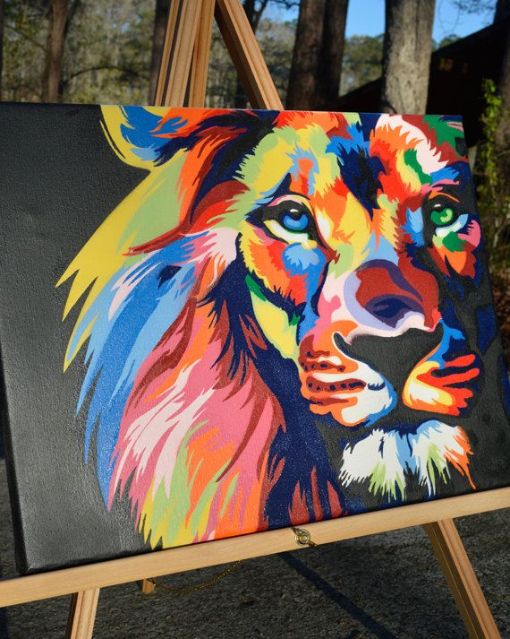 Color Lion King Of The Jungle Graffiti Art Spray Paint Canvas