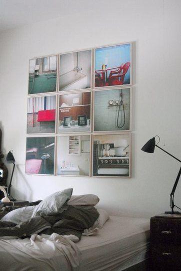 Display photos in a grid: Display Photos, Headboards Ideas, Apartment Therapy, Photos Collage, Photos Wall, Display Art, Photos Display, Families Photos, Frames Photos