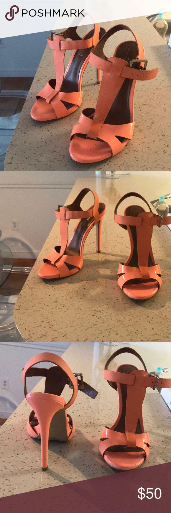 Neon strappy heel Neon orange strappy high heels Aldo Shoes Sandals