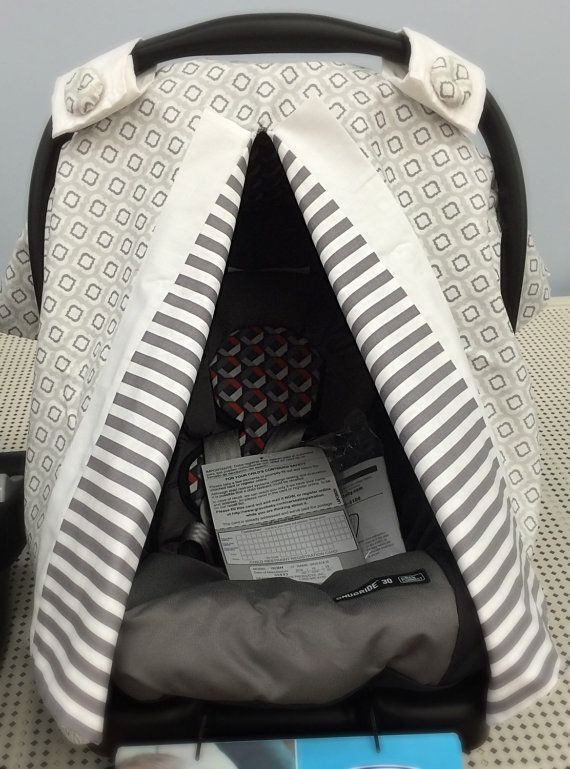 Carseat  Cover Boy - Car Seat Cover Girl - Car Seat Canopy -Infant Carrier  - Gender Neutral Baby - Grey Stripes - READY TO SHIP
