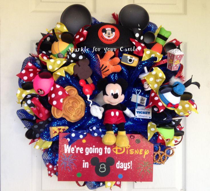 Disney Wreath Countdown to Disney Vacation Wreath by SparkleForYourCastle on Etsy