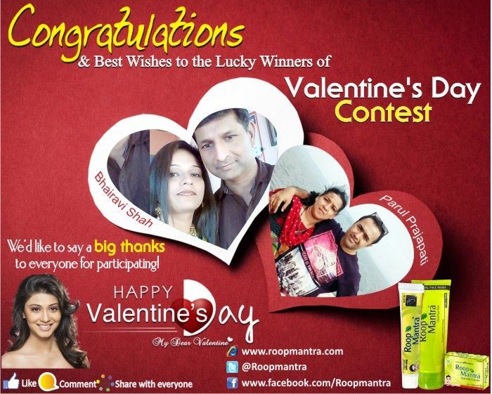 We are pleased to announce the #lucky #Winners of   #Roopmantra #Valentine #Day #Contest  Heartiest congratulation to the lucky winners.  www.roopmantra.com Like Us: www.facebook.com/Roopmantra Follow Us:http://bit.ly/1CPmIjs