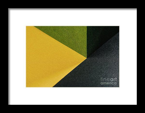 Fresh Green, Gold Yellow And Charcoal Gray Abstract Geometric Background With Paper Texture Framed Print