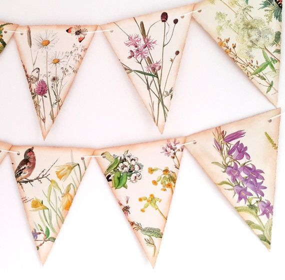 Wedding Blossom and Flower Bunting -Spring / Summer Floral Bunting- Wedding Bunting-  Floral Garland-Wedding Decor- Upcycled Wedding Garland