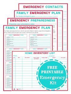 Emergency Binder: Free Printables I have been compiling a Family Emergency Binder. Things like: Evacuation Plans, Emergency Plans, Medical Information, Family Information, & Important Contacts. While researching different Emergency Information I stumbled across these printables...