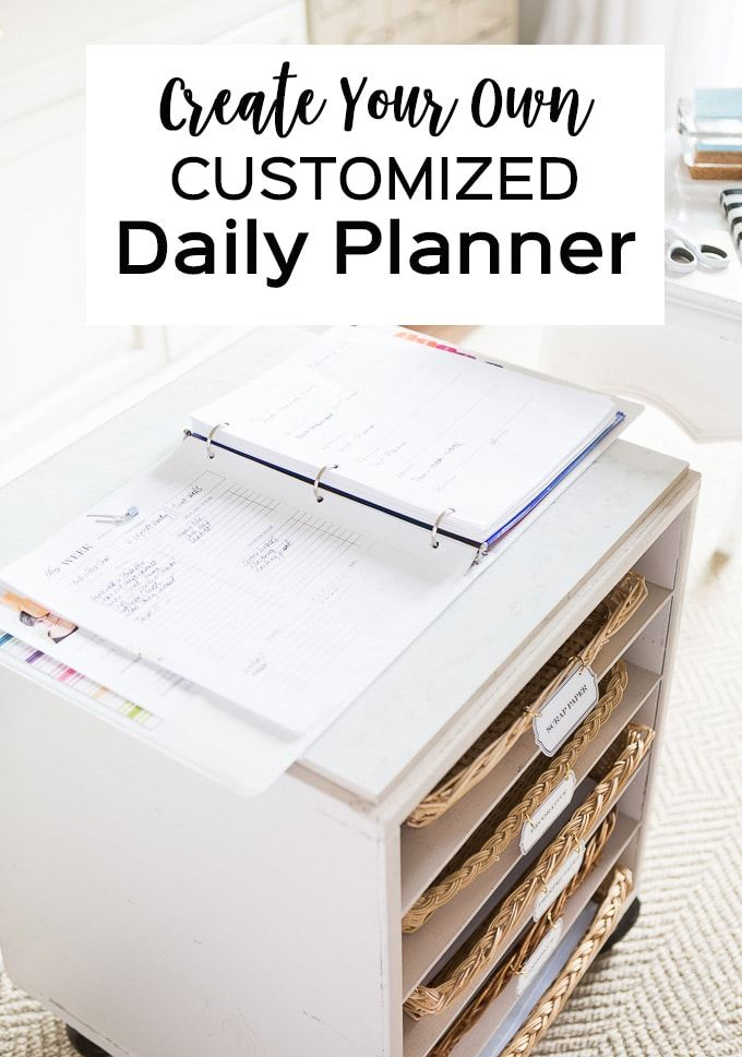 Create your own custom daily planner. Free printable planner pages and inserts to download. Day planner organizing ideas.