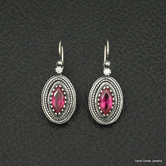 Ruby Cz Earrings Etruscan Style 925 Sterling Silver Greek