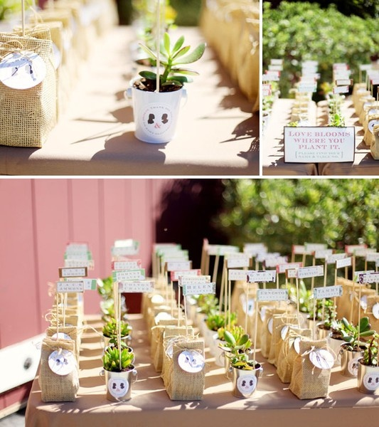 I really like the idea for guest gifts being plants or flowers in little burlap sacks or mini-pots! So cute