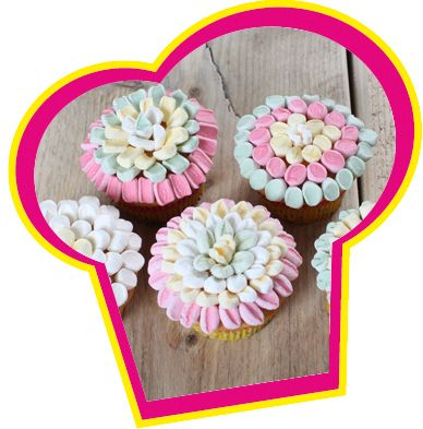 Marshmallow bloemen cupcakes