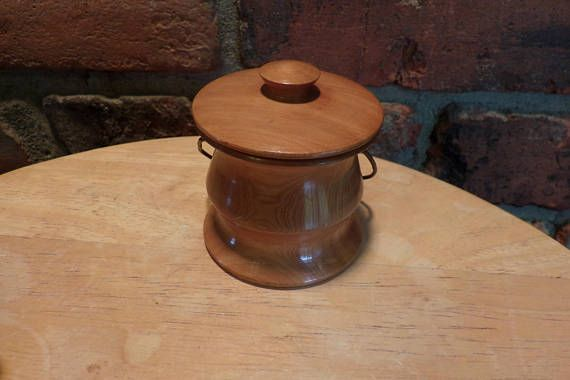 Hand Turned Juniper wood lidded dish, Juniper wood jar, 1940's wooden jar, handled wooden jar, Juniper wood box, engagement ring box https://www.etsy.com/listing/520703352/hand-turned-juniper-wood-lidded-dish?utm_campaign=crowdfire&utm_content=crowdfire&utm_medium=social&utm_source=pinterest