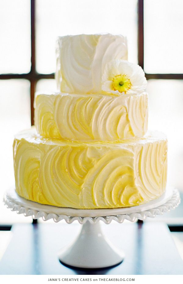 10 Yellow Wedding Cakes | including this design by Jana's Creative Cakes | on TheCakeBlog.com