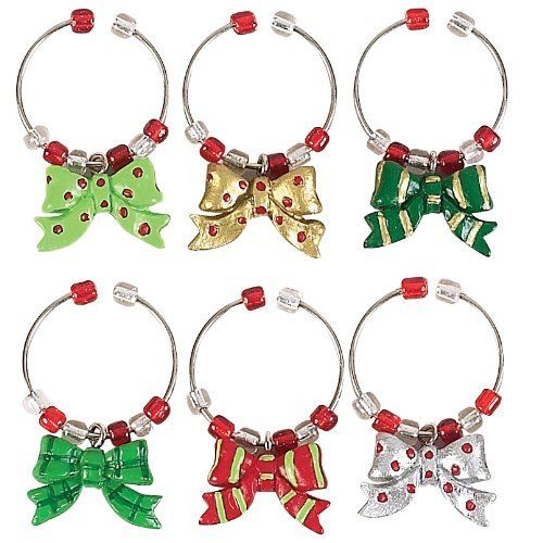 Boston Warehouse Holiday Bows Wine Charm, Set of 6 by Boston Warehouse. $13.24. Hand painted charms on metal rings. Hand wash recommended. 1/2-Inch long. Set of 6 wine charms. By boston warehouse - creative ideas for home entertaining; holiday design. The Boston Warehouse set of 6 Holiday Bows Wine Charms provides an interesting solution to an entertaining dilemma. The 1/2-Inch, hand painted charms on metal rings, allow guests to identify their wine glass when attache...