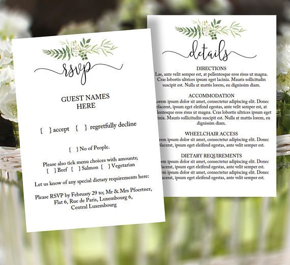 Small greenery wedding enclosure cards, printable RSVP  detail card