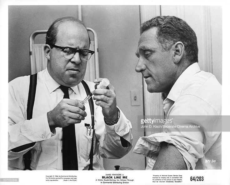 Publicity still portrait of American actors James Whitemore and Sorrell Booke in the film adaptation of John Howard Griffin's novel 'Black Like Me,' 1964.