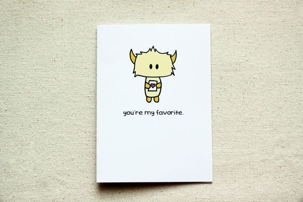 Yellow Monster Valentine 'You're My Favorite' Note Card on the redditgifts Marketplace