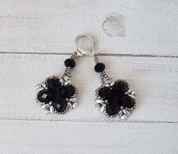 Glass braid, gift for her, black earrings, beads earrings, crystal earrings, elegant earrings, gift for her, silver black, christmas gift,